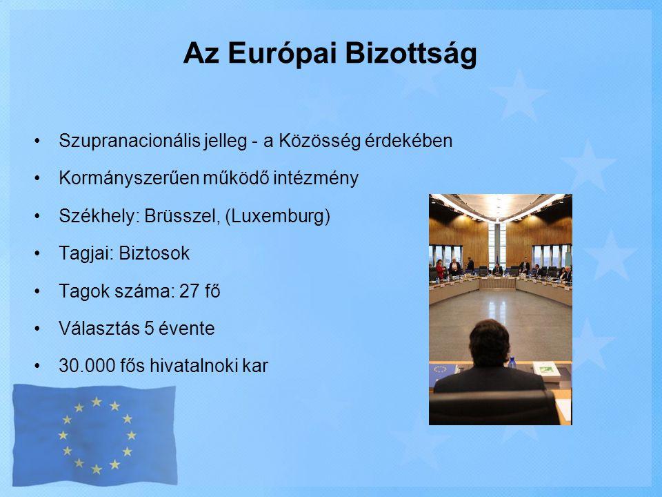 •Szupranacionális jelleg - a Közösség érdekében •Kormányszerűen működő intézmény •Székhely: Brüsszel, (Luxemburg) •Tagjai: Biztosok •Tagok száma: 27 f