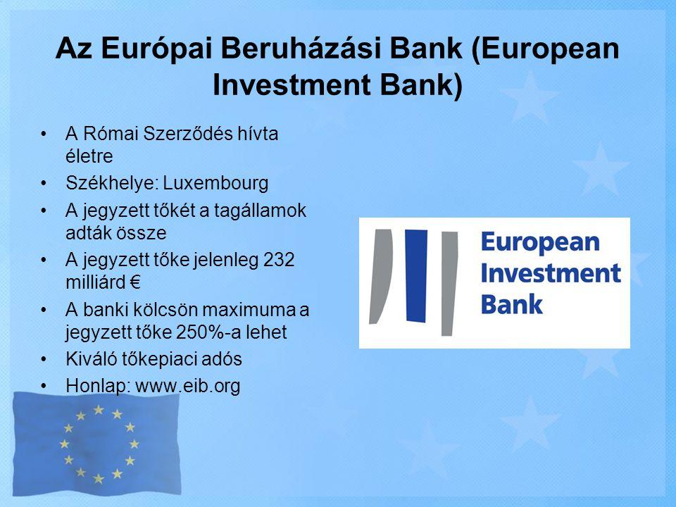 Az Európai Beruházási Bank (European Investment Bank) •A Római Szerződés hívta életre •Székhelye: Luxembourg •A jegyzett tőkét a tagállamok adták össz