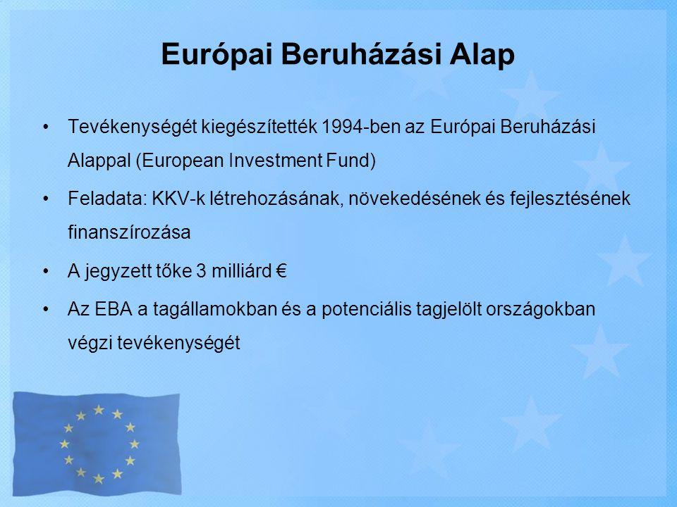 Európai Beruházási Alap •Tevékenységét kiegészítették 1994-ben az Európai Beruházási Alappal (European Investment Fund) •Feladata: KKV-k létrehozásána