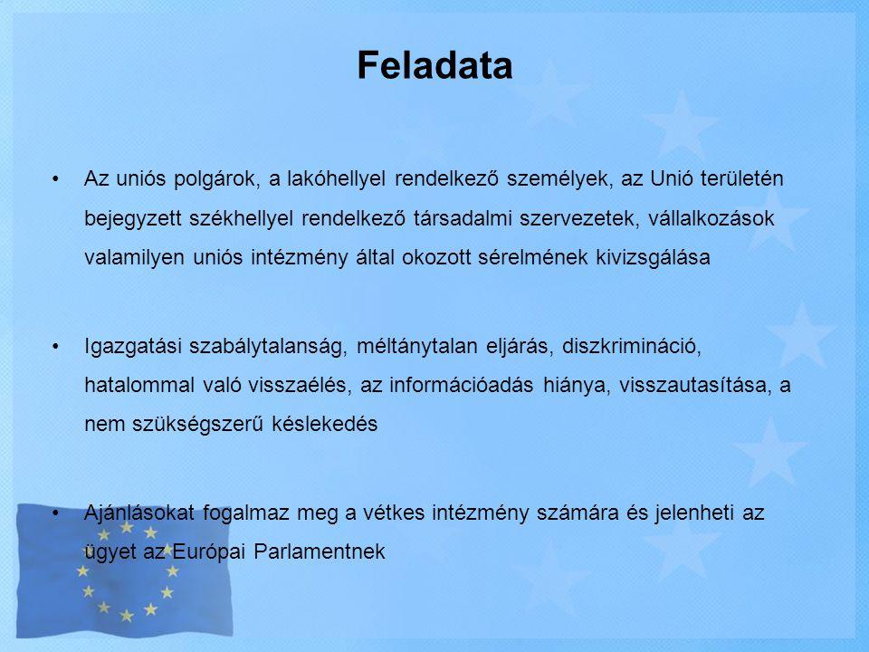 Feladata •Az uniós polgárok, a lakóhellyel rendelkező személyek, az Unió területén bejegyzett székhellyel rendelkező társadalmi szervezetek, vállalkoz