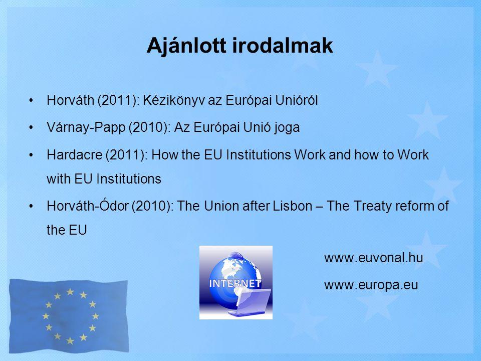 Ajánlott irodalmak •Horváth (2011): Kézikönyv az Európai Unióról •Várnay-Papp (2010): Az Európai Unió joga •Hardacre (2011): How the EU Institutions W