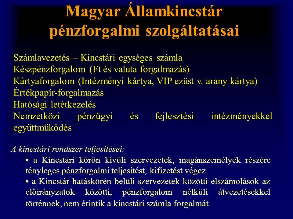 Magyar Államkincstár pénzforgalmi szolgáltatásai A kincstári rendszer teljesítései: • a Kincstári körön kívüli szervezetek, magánszemélyek részére tén
