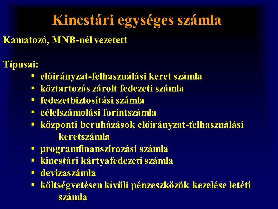 Kincstári egységes számla Kamatozó, MNB-nél vezetett Típusai:  előirányzat-felhasználási keret számla  köztartozás zárolt fedezeti számla  fedezetb