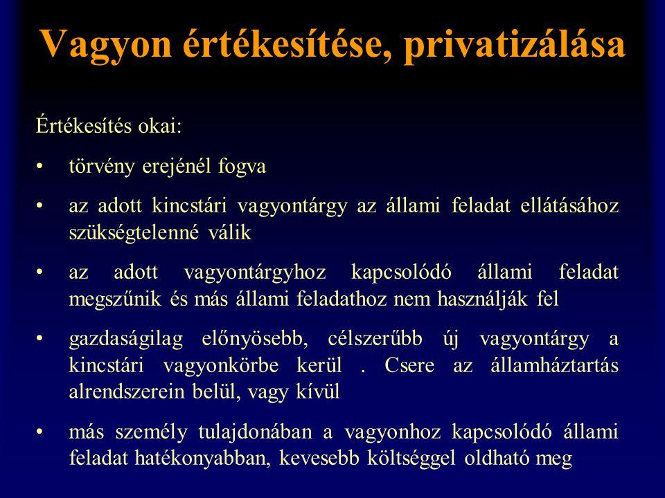 Vagyon értékesítése, privatizálása Értékesítés okai: •törvény erejénél fogva •az adott kincstári vagyontárgy az állami feladat ellátásához szükségtele