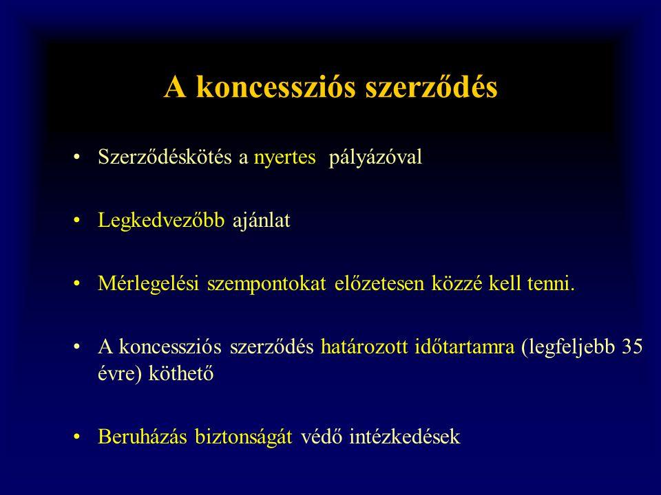 A koncessziós szerződés •Szerződéskötés a nyertes pályázóval •Legkedvezőbb ajánlat •Mérlegelési szempontokat előzetesen közzé kell tenni. •A koncesszi