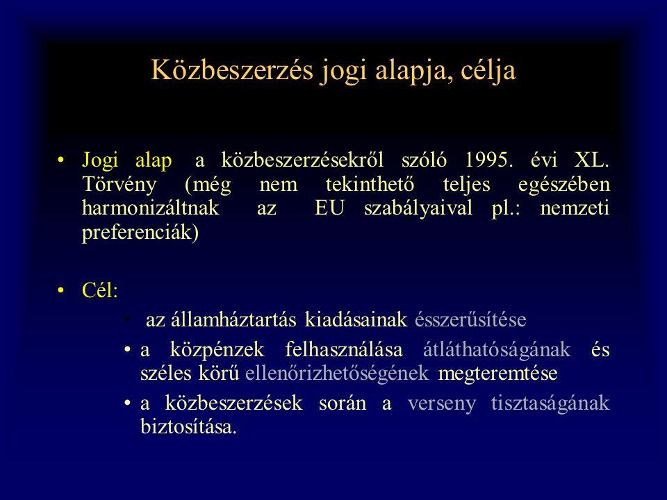 Közbeszerzés jogi alapja, célja •Jogi alap: a közbeszerzésekről szóló 1995. évi XL. Törvény (még nem tekinthető teljes egészében harmonizáltnak az EU