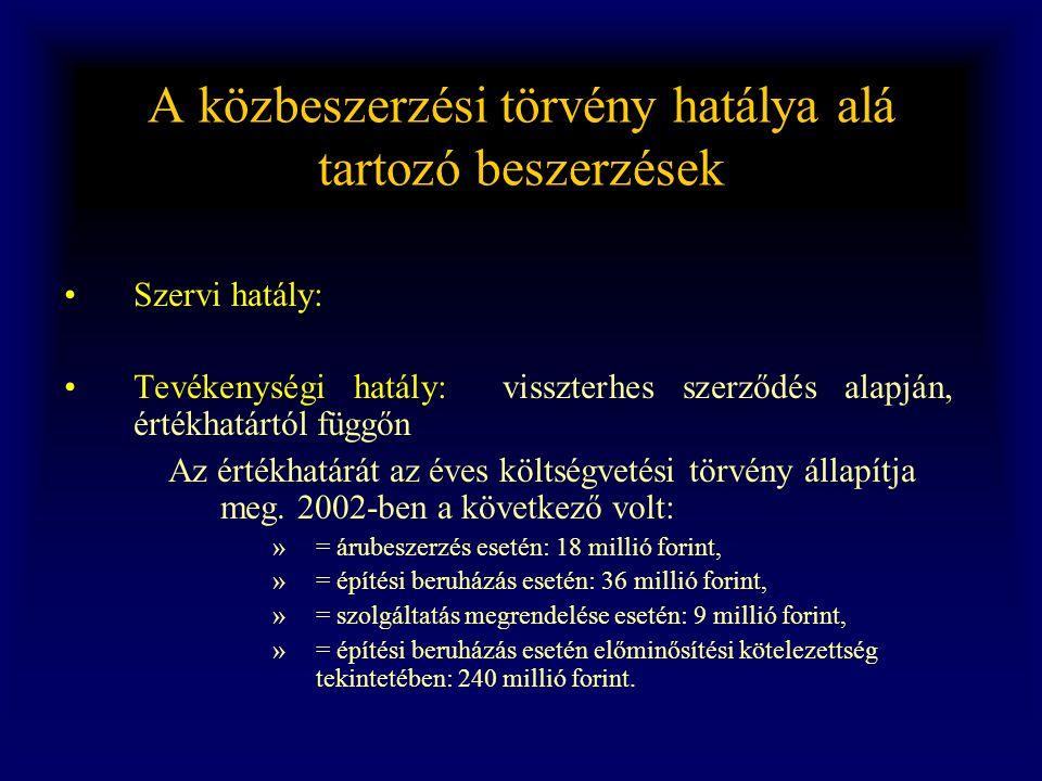 A közbeszerzési törvény hatálya alá tartozó beszerzések •Szervi hatály: •Tevékenységi hatály: visszterhes szerződés alapján, értékhatártól függőn Az é