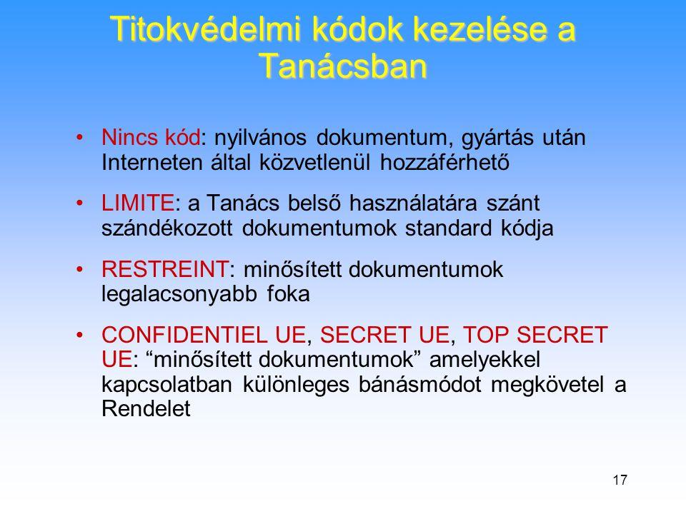 17 Titokvédelmi kódok kezelése a Tanácsban •Nincs kód: nyilvános dokumentum, gyártás után Interneten által közvetlenül hozzáférhető •LIMITE: a Tanács belső használatára szánt szándékozott dokumentumok standard kódja •RESTREINT: minősített dokumentumok legalacsonyabb foka •CONFIDENTIEL UE, SECRET UE, TOP SECRET UE: minősített dokumentumok amelyekkel kapcsolatban különleges bánásmódot megkövetel a Rendelet