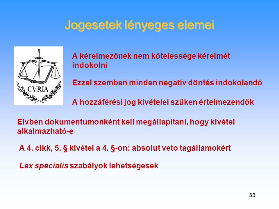 33 Jogesetek lényeges elemei A kérelmezőnek nem kötelessége kérelmét indokolni Ezzel szemben minden negatív döntés indokolandó A hozzáférési jog kivételei szűken értelmezendők Elvben dokumentumonként kell megállapítani, hogy kivétel alkalmazható-e A 4.