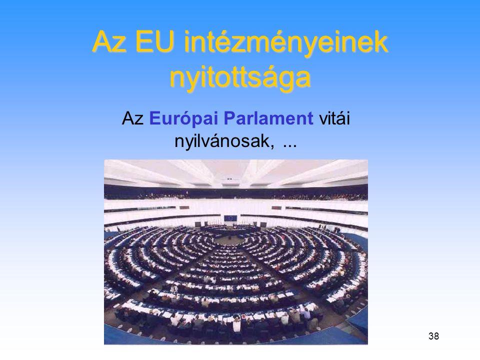 38 Az EU intézményeinek nyitottsága Az Európai Parlament vitái nyilvánosak,...