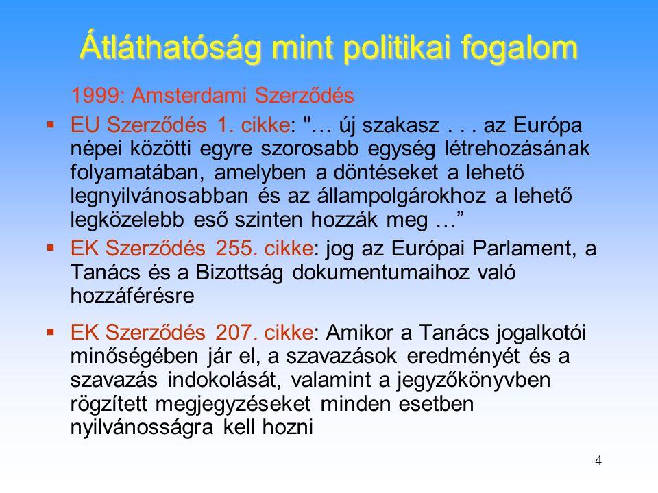 4 1999: Amsterdami Szerződés  EU Szerződés 1. cikke: … új szakasz...