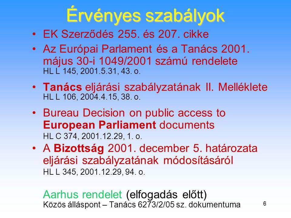 6 Érvényes szabályok •EK Szerződés 255. és 207. cikke •Az Európai Parlament és a Tanács 2001.