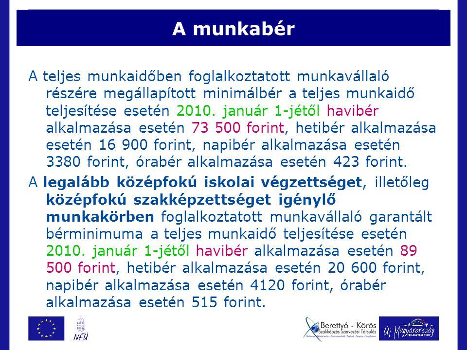 A munkabér A teljes munkaidőben foglalkoztatott munkavállaló részére megállapított minimálbér a teljes munkaidő teljesítése esetén 2010.