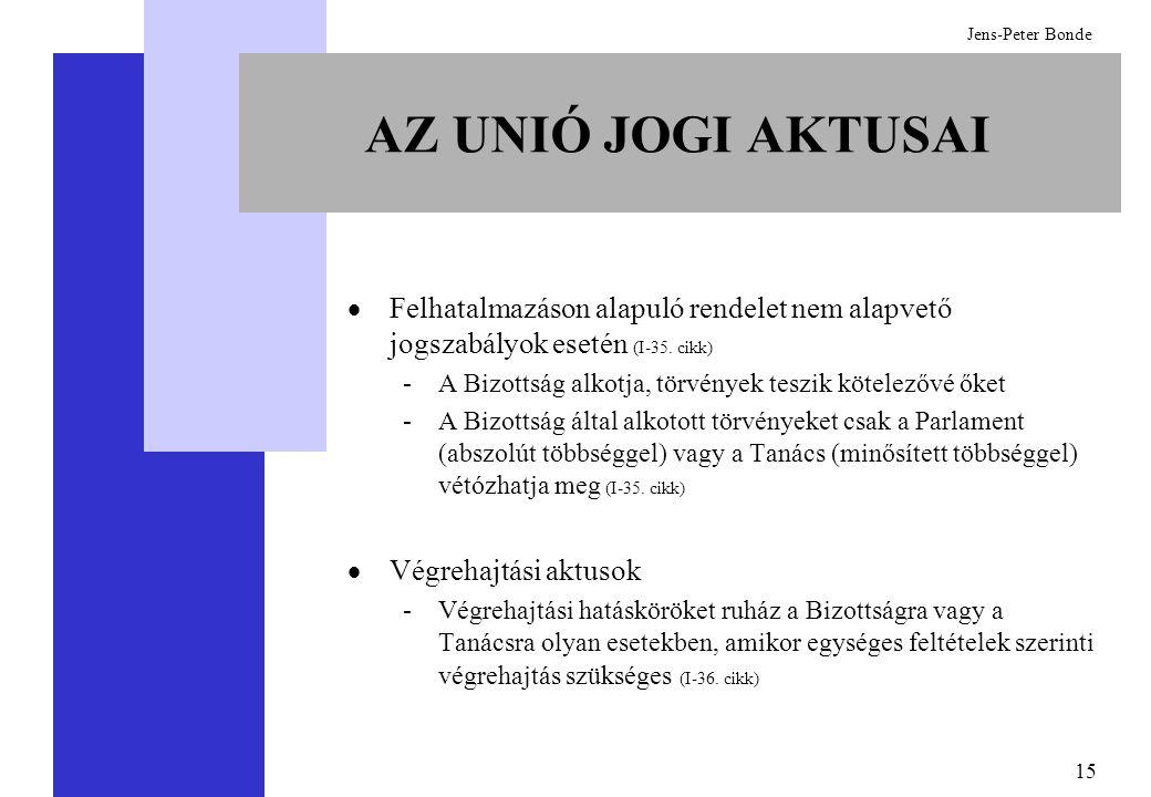 15 Jens-Peter Bonde  Felhatalmazáson alapuló rendelet nem alapvető jogszabályok esetén (I-35. cikk) -A Bizottság alkotja, törvények teszik kötelezővé