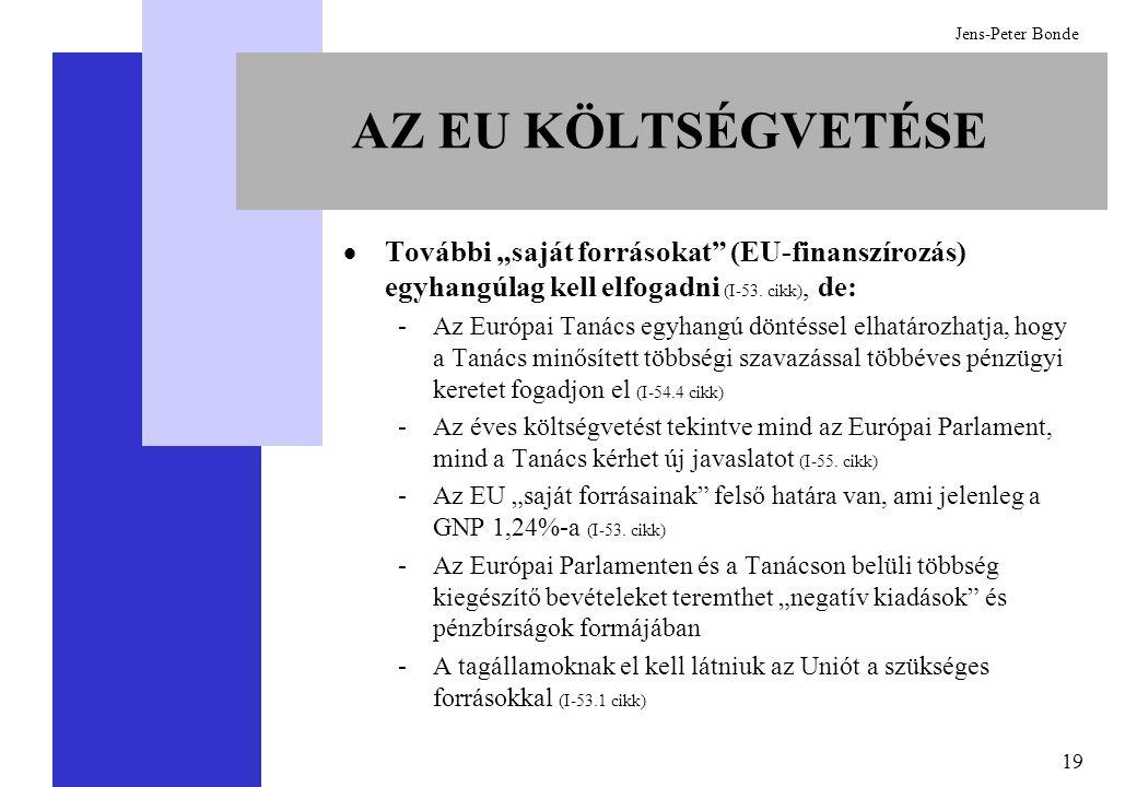 """19 Jens-Peter Bonde AZ EU KÖLTSÉGVETÉSE  További """"saját forrásokat"""" (EU-finanszírozás) egyhangúlag kell elfogadni (I-53. cikk), de: -Az Európai Tanác"""