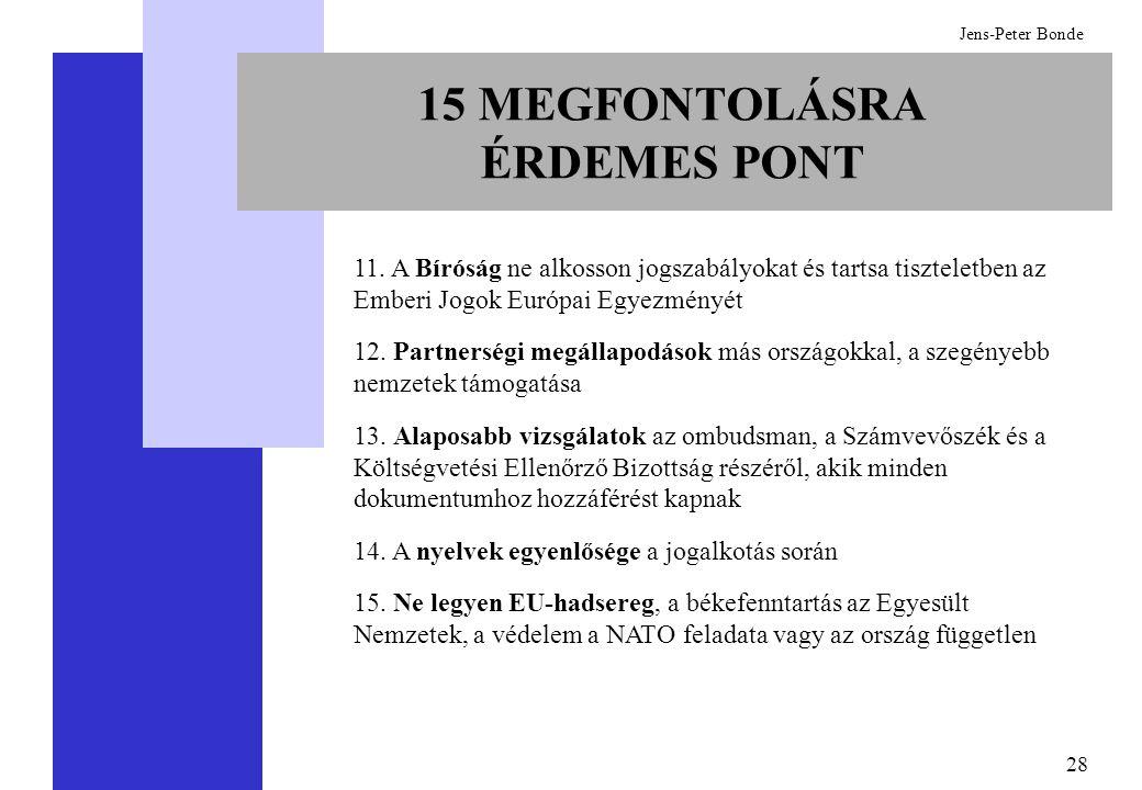 28 Jens-Peter Bonde 11. A Bíróság ne alkosson jogszabályokat és tartsa tiszteletben az Emberi Jogok Európai Egyezményét 12. Partnerségi megállapodások