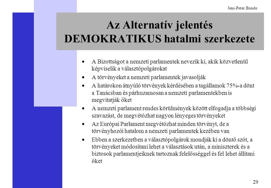 29 Jens-Peter Bonde Az Alternatív jelentés DEMOKRATIKUS hatalmi szerkezete  A Bizottságot a nemzeti parlamentek nevezik ki, akik közvetlenül képviselik a választópolgárokat  A törvényeket a nemzeti parlamentek javasolják  A határokon átnyúló törvények kérdésében a tagállamok 75%-a dönt a Tanácsban és párhuzamosan a nemzeti parlamentekben is megvitatják őket  A nemzeti parlament rendes körülmények között elfogadja a többségi szavazást, de megvétózhat nagyon lényeges törvényeket  Az Európai Parlament megvétózhat minden törvényt, de a törvényhozói hatalom a nemzeti parlamentek kezében van  Ebben a szerkezetben a választópolgárok mondják ki a döntő szót, a törvényeket módosítani lehet a választások után, a miniszterek és a biztosok parlamentjeiknek tartoznak felelősséggel és fel lehet állítani őket