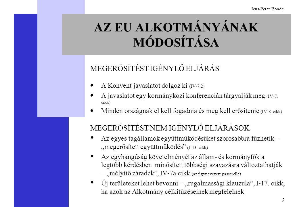 24 Jens-Peter Bonde  Minden tagállam kormánya javaslatot tesz a Bizottság elnökére és a bizottsági tagokra (I-26)  Az Európai Parlamentnek jóvá kell hagynia: -A Bizottság elnökét (I-19.1 cikk), de csak egy jelöltet terjesztenek elé -A Bizottság egészét (I-26.2), de nem állíthat jelölteket  A Bizottság elnökét és a bizottsági tagokat az Európai Tanács minősített többséggel nevezi ki (I-26)  Az Európai Parlament a Bizottsággal szemben a leadott szavazatok kétharmadával és tagjainak többségével bizalmatlansági indítványt fogadhat el, de nem választhat új Bizottságot (I-25.8 cikk) A VÉGREHAJTÓI HATALOM KINEVEZÉSE
