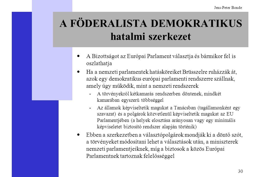 30 Jens-Peter Bonde A FÖDERALISTA DEMOKRATIKUS hatalmi szerkezet  A Bizottságot az Európai Parlament választja és bármikor fel is oszlathatja  Ha a nemzeti parlamentek hatásköreiket Brüsszelre ruházzák át, azok egy demokratikus európai parlamenti rendszerre szállnak, amely úgy működik, mint a nemzeti rendszerek -A törvényekről kétkamarás rendszerben döntenek, mindkét kamarában egyszerű többséggel -Az államok képviseltetik magukat a Tanácsban (tagállamonként egy szavazat) és a polgárok közvetlenül képviseltetik magukat az EU Parlamentjében (a helyek elosztása arányosan vagy egy minimális képviseletet biztosító rendszer alapján történik)  Ebben a szerkezetben a választópolgárok mondják ki a döntő szót, a törvényeket módosítani lehet a választások után, a miniszterek nemzeti parlamentjeiknek, míg a biztosok a közös Európai Parlamentnek tartoznak felelősséggel