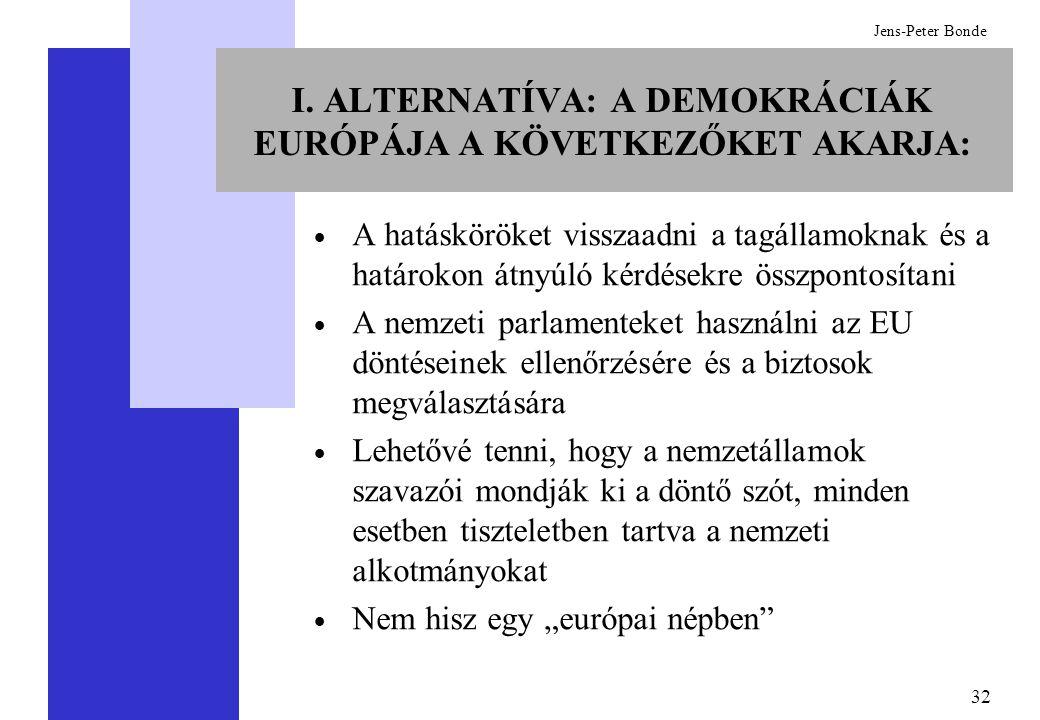 32 Jens-Peter Bonde I. ALTERNATÍVA: A DEMOKRÁCIÁK EURÓPÁJA A KÖVETKEZŐKET AKARJA:  A hatásköröket visszaadni a tagállamoknak és a határokon átnyúló k