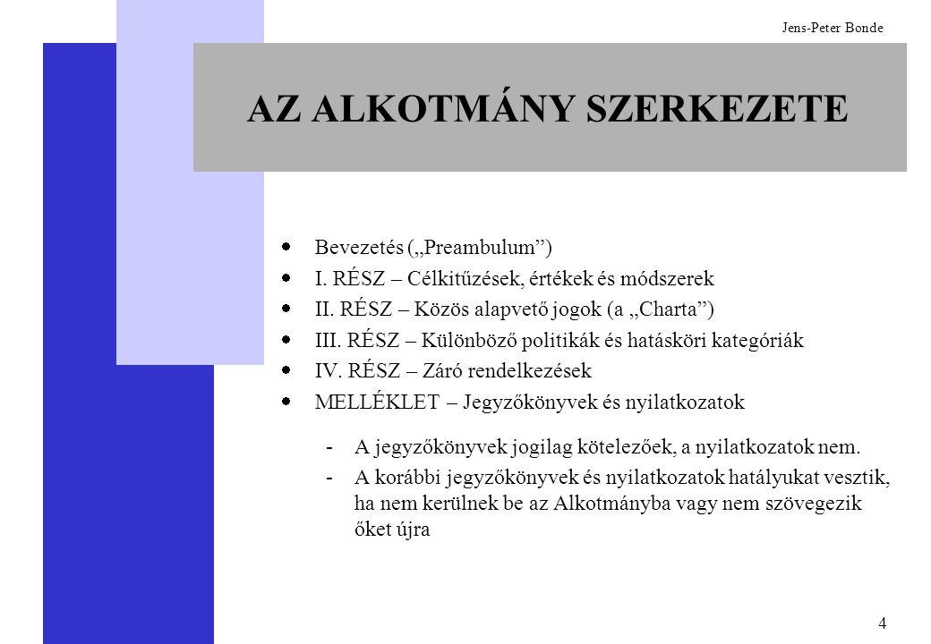 """4 Jens-Peter Bonde AZ ALKOTMÁNY SZERKEZETE  Bevezetés (""""Preambulum"""")  I. RÉSZ – Célkitűzések, értékek és módszerek  II. RÉSZ – Közös alapvető jogok"""