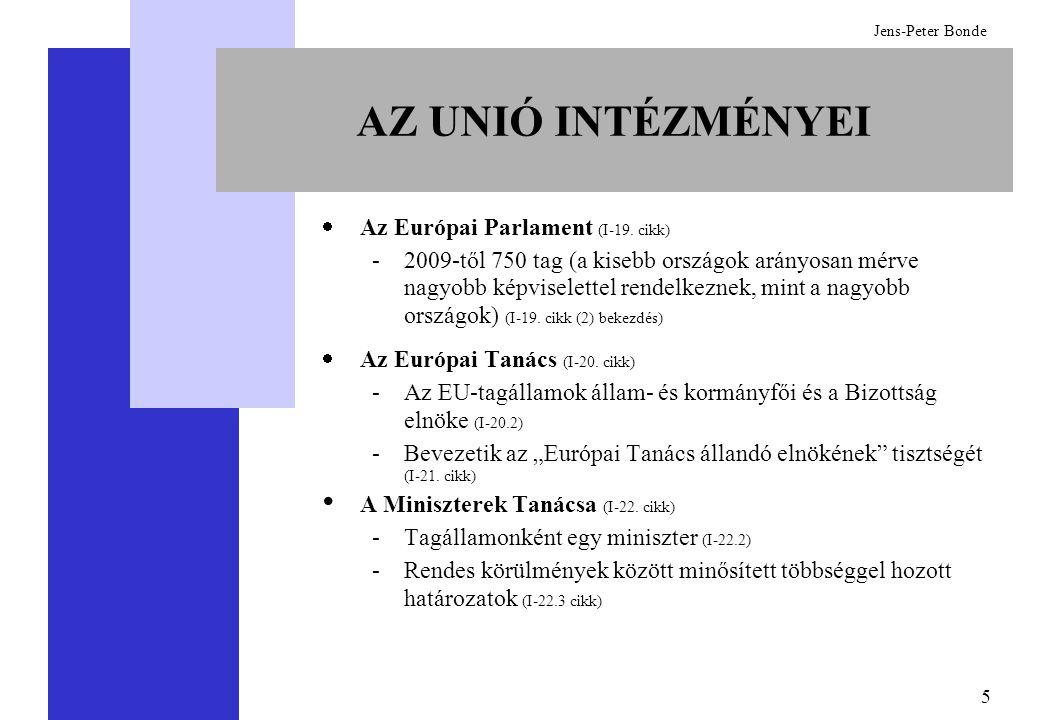 5 Jens-Peter Bonde AZ UNIÓ INTÉZMÉNYEI  Az Európai Parlament (I-19. cikk) -2009-től 750 tag (a kisebb országok arányosan mérve nagyobb képviselettel