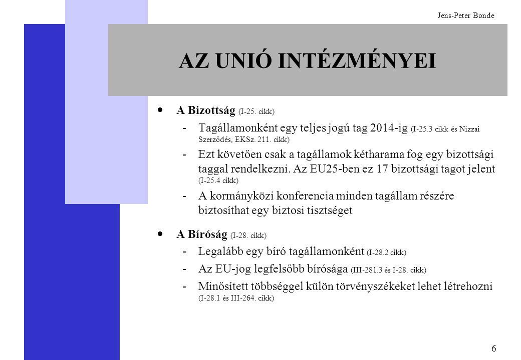 6 Jens-Peter Bonde AZ UNIÓ INTÉZMÉNYEI  A Bizottság (I-25. cikk) -Tagállamonként egy teljes jogú tag 2014-ig (I-25.3 cikk és Nizzai Szerződés, EKSz.
