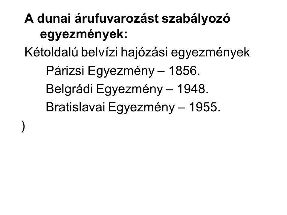 A dunai árufuvarozást szabályozó egyezmények: Kétoldalú belvízi hajózási egyezmények Párizsi Egyezmény – 1856. Belgrádi Egyezmény – 1948. Bratislavai
