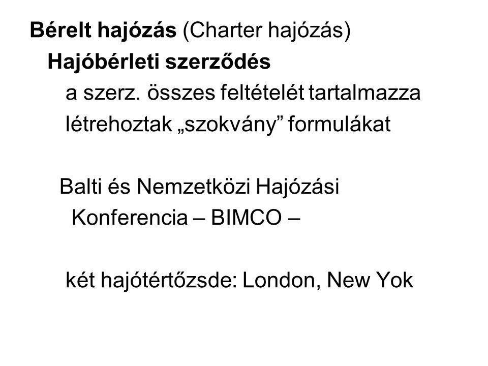 """Bérelt hajózás (Charter hajózás) Hajóbérleti szerződés a szerz. összes feltételét tartalmazza létrehoztak """"szokvány"""" formulákat Balti és Nemzetközi Ha"""