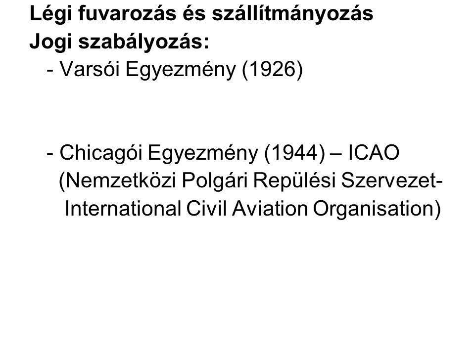 Légi fuvarozás és szállítmányozás Jogi szabályozás: - Varsói Egyezmény (1926) - Chicagói Egyezmény (1944) – ICAO (Nemzetközi Polgári Repülési Szerveze
