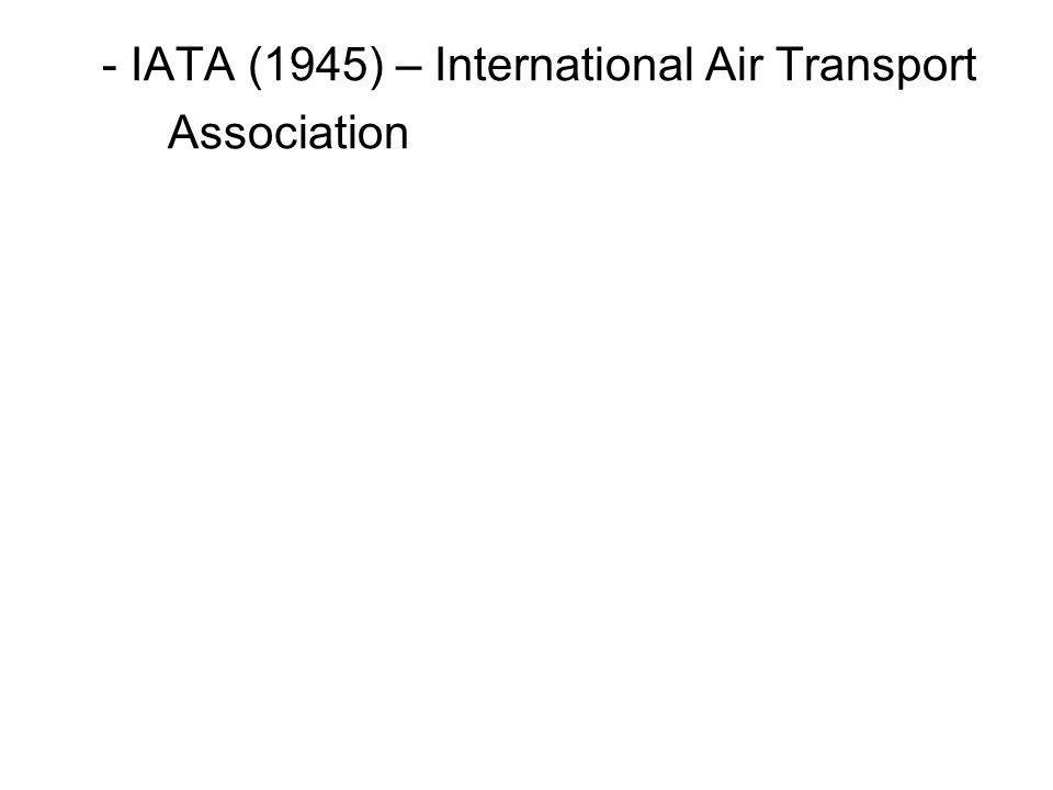 - IATA (1945) – International Air Transport Association