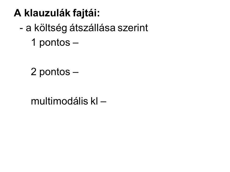 A klauzulák fajtái: - a költség átszállása szerint 1 pontos – 2 pontos – multimodális kl –