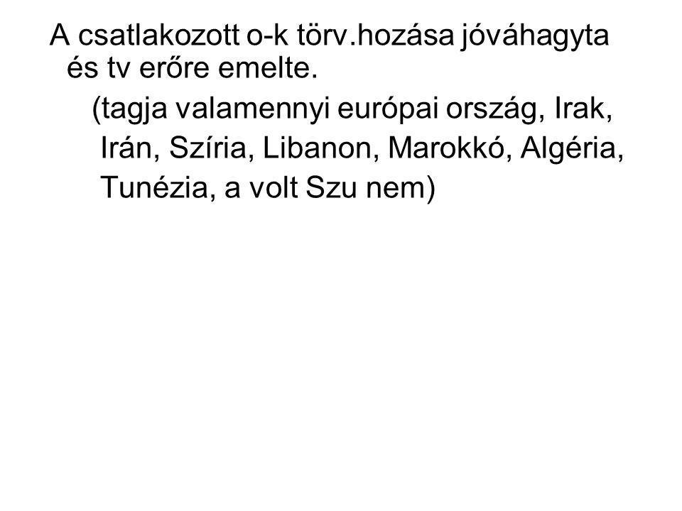 A csatlakozott o-k törv.hozása jóváhagyta és tv erőre emelte. (tagja valamennyi európai ország, Irak, Irán, Szíria, Libanon, Marokkó, Algéria, Tunézia