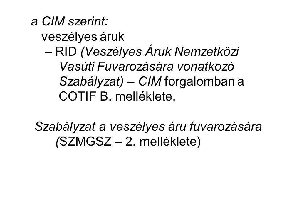 a CIM szerint: veszélyes áruk – RID (Veszélyes Áruk Nemzetközi Vasúti Fuvarozására vonatkozó Szabályzat) – CIM forgalomban a COTIF B. melléklete, Szab