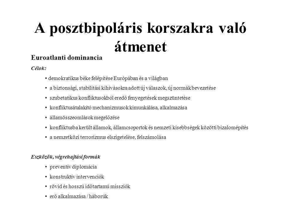 Az Európai Unió – európai egyesülés A főbb közös politikák integrációja (gazdasági, monetáris, kereskedelmi, agrár-, közlekedési és környezeti politika) Bővítések / Tágabb Európa -terv 1973 Új tagok: Egyesült Királyság, Dánia, Írország 1981 tizek: Görögország csatlakozása 1986 Spanyolország és Portugália csatlakozása 1990 a volt NDK taggá válása (egyesült Németország) 1995 Ausztria, Svédország, Finnország csatlakozása 2004 Ciprus, Csehország, Észtország, Lettország, Lengyelország, Litvánia, Magyarország, Málta, Szlovákia, Szlovénia taggá válása.