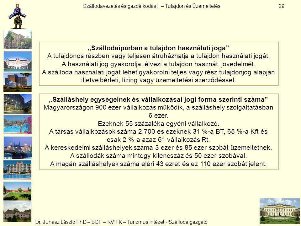 """Szállodavezetés és gazdálkodás I. – Tulajdon és Üzemeltetés Dr. Juhász László PhD – BGF – KVIFK – Turizmus Intézet - Szállodaigazgató 29 """"Szállodaipar"""