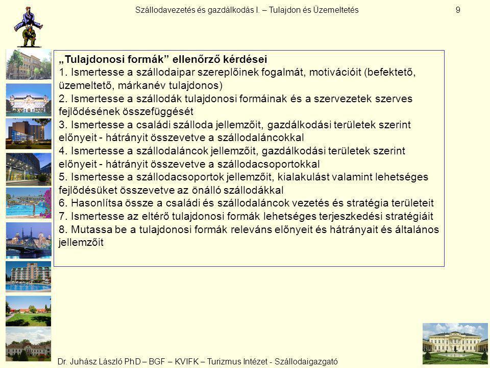 Szállodavezetés és gazdálkodás I.– Tulajdon és Üzemeltetés Dr.