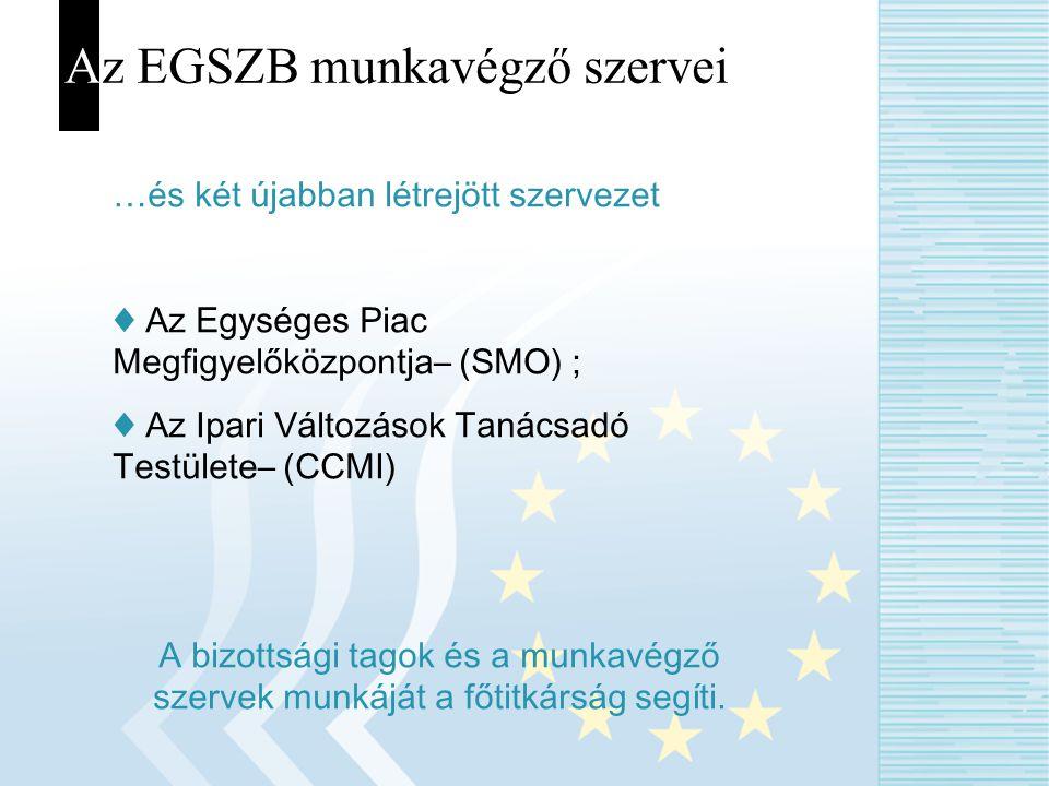 Az EGSZB munkavégző szervei …és két újabban létrejött szervezet ♦ Az Egységes Piac Megfigyelőközpontja– (SMO) ; ♦ Az Ipari Változások Tanácsadó Testül