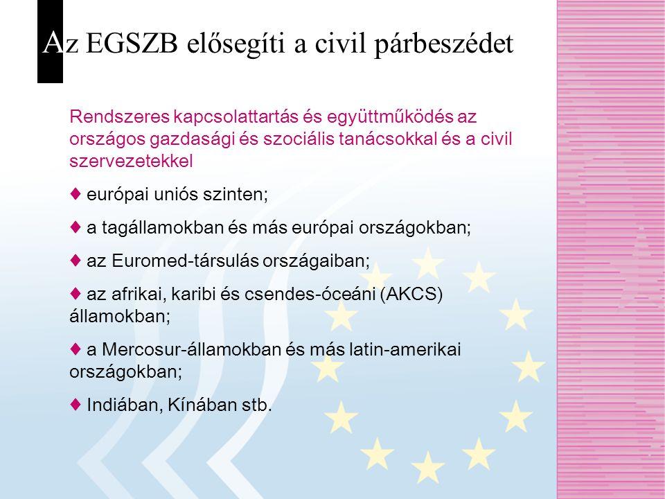 A z EGSZB elősegíti a civil párbeszédet Rendszeres kapcsolattartás és együttműködés az országos gazdasági és szociális tanácsokkal és a civil szerveze
