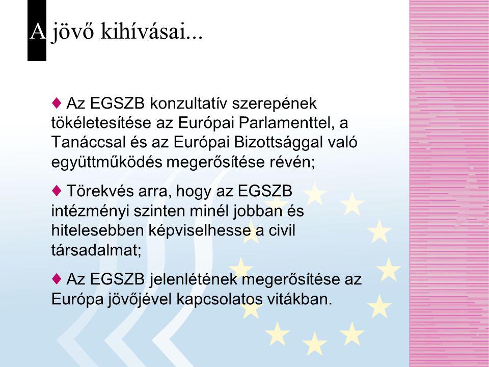 A jövő kihívásai... ♦ Az EGSZB konzultatív szerepének tökéletesítése az Európai Parlamenttel, a Tanáccsal és az Európai Bizottsággal való együttműködé