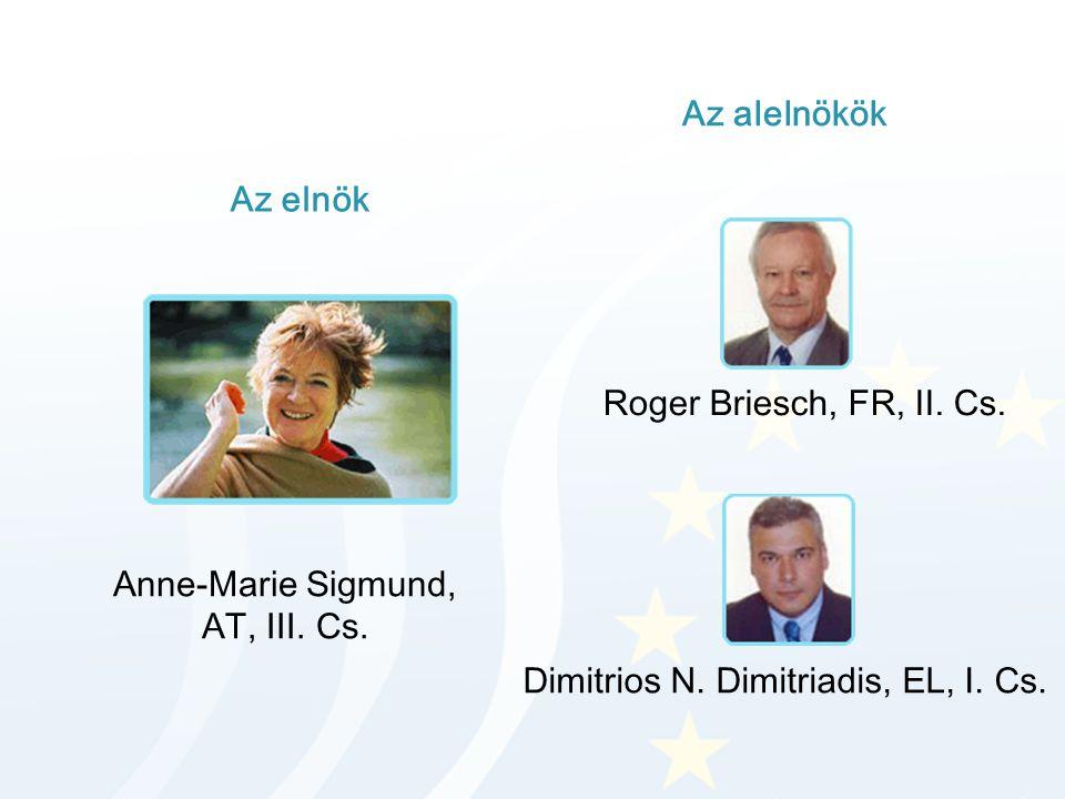 Az elnök Az alelnökök Anne-Marie Sigmund, AT, III. Cs. Roger Briesch, FR, II. Cs. Dimitrios N. Dimitriadis, EL, I. Cs.