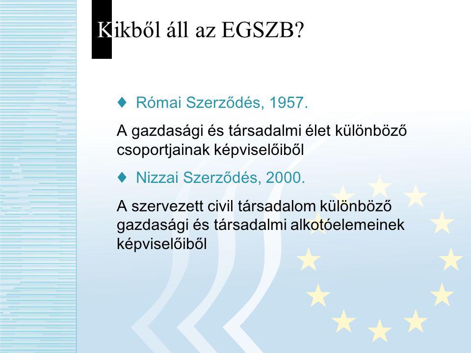 Kikből áll az EGSZB? ♦ Római Szerződés, 1957. A gazdasági és társadalmi élet különböző csoportjainak képviselőiből ♦ Nizzai Szerződés, 2000. A szervez