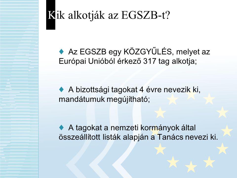 Kik alkotják az EGSZB-t? ♦ Az EGSZB egy KÖZGYŰLÉS, melyet az Európai Unióból érkező 317 tag alkotja; ♦ A bizottsági tagokat 4 évre nevezik ki, mandátu