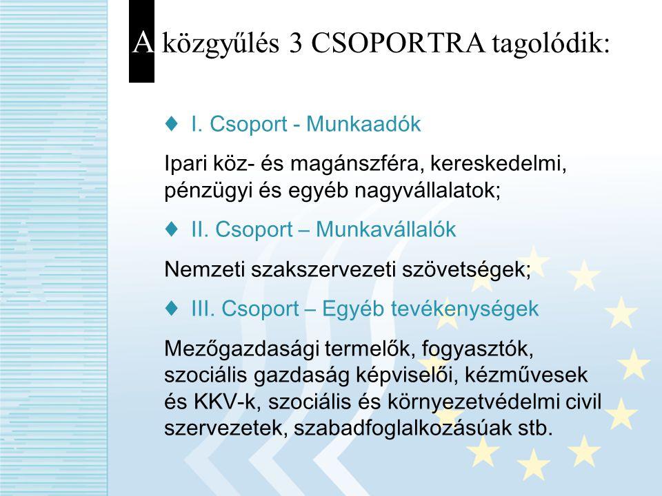 A közgyűlés 3 CSOPORTRA tagolódik: ♦ I. Csoport - Munkaadók Ipari köz- és magánszféra, kereskedelmi, pénzügyi és egyéb nagyvállalatok; ♦ II. Csoport –
