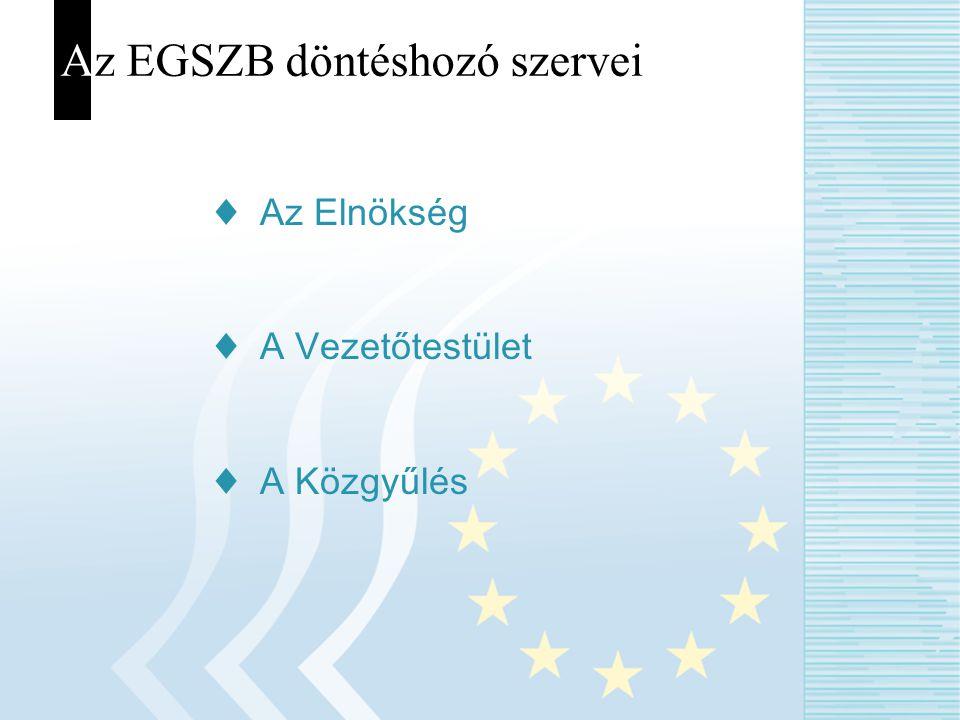 Az EGSZB döntéshozó szervei ♦ Az Elnökség ♦ A Vezetőtestület ♦ A Közgyűlés