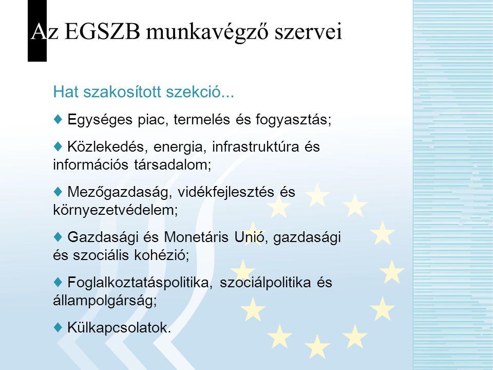 Az EGSZB munkavégző szervei Hat szakosított szekció... ♦ Egységes piac, termelés és fogyasztás; ♦ Közlekedés, energia, infrastruktúra és információs t