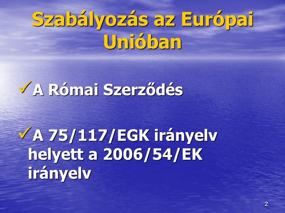 2 Szabályozás az Európai Unióban  A Római Szerződés  A 75/117/EGK irányelv helyett a 2006/54/EK irányelv
