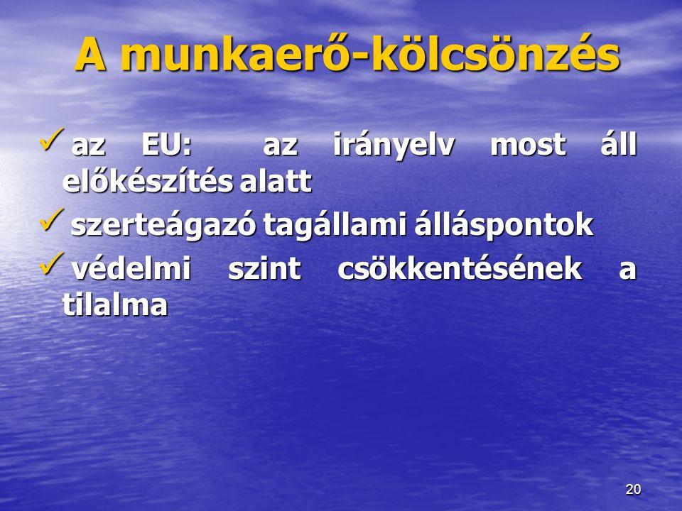 20 A munkaerő-kölcsönzés  az EU: az irányelv most áll előkészítés alatt  szerteágazó tagállami álláspontok  védelmi szint csökkentésének a tilalma
