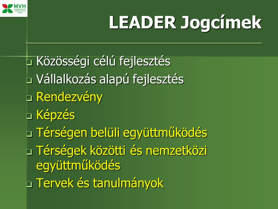 LEADER Jogcímek  Közösségi célú fejlesztés  Vállalkozás alapú fejlesztés  Rendezvény  Képzés  Térségen belüli együttműködés  Térségek közötti és