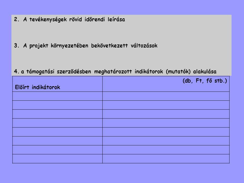 2.A tevékenységek rövid időrendi leírása 3.A projekt környezetében bekövetkezett változások 4.a támogatási szerződésben meghatározott indikátorok (mut